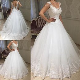 $enCountryForm.capitalKeyWord Australia - Lace A Line Wedding Dresses 2019 Sheer Tulle Applique Over Skirts Bow Sash Wedding Bridal Gowns robe