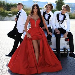 $enCountryForm.capitalKeyWord Australia - Sexy Red Evening Dresses 2019 Spaghetti Sweep Train Front Split Prom Gowns For Couple Day Long Formal Party Dress
