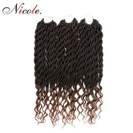 crochet hairstyles UK - Nicole Synthetic Soft Faux Locs Curly Crochet Braiding Hair Extensions 22inch 70g pack 24strands pack Goddess Hairstyle