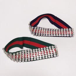 Neues Luxusvollrhinestones Stirnband mit elastischer guter Qualitätsgrün-und Rot-Streifen-Art- und Weisedamen-Kopf-Verpackung 2 Farben im Angebot