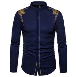 shirt collar designs for mens Australia - Fashion Design for Mens Stand Collar Single Breasted Court Gold Rimmed Embroidered Long Sleeved Shirt Solid Color Four-color Mens Shirt