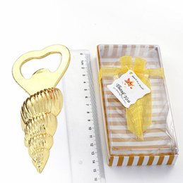 "beach bottle opener wedding favors UK - 100pcs Conch bottle opener wedding favors Good gift for Beach series ""Shore Memories"" Sea Beach Shell Bottle Opener SN3653"