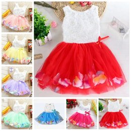 chiffon 3d flower tutu Australia - Baby Girls Clothes Princess girls flower dress 3D rose flower baby tutu dress colorful petal lace dress Bubble Skirt Dancing dresses LT656