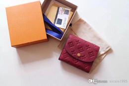 Coin Boxes Australia - Wholesale Top quality Ariane women small short Wallet purse Monogrram Empreinte Card holder pocket cowhide coin Purse original box M64148