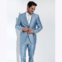ca494d8f836 Light blue men s business suit men s wedding best man dress casual new Lang  wedding three-piece suit (coat + vest + pants)