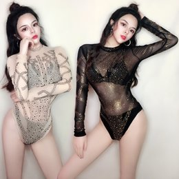 pole dancing Australia - Sexy American Clothing Bar Rhinestone Jumpsuit Female Gogo Dance Perspective Nude Clothes Party Outfits Pole Dance Costume 4093
