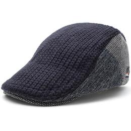 super popular 5a87e 52d16 Men s Knitted Wool Duckbill Hat Warm Newsboy Flat Scally Cap Warm Ivy  Cabbie Drving Hunting Golf Women Winter Gatsby Snap Vintage Beret 8228