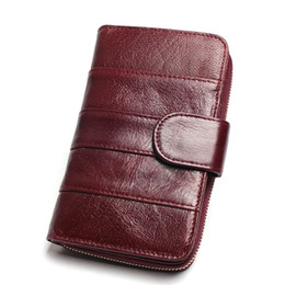 Medium Zipper Wallets Australia - Women Split Leather Style Import Oil Wax Cowhide Medium Paragraph Buckle Leather Wallet Women's High Quality Purse
