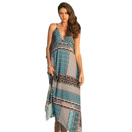 ingrosso abiti lunghi da donna-New Europe Summer Women s Beach Dress V Neck Strap Abiti Lady Bohemia Long Dress C4646