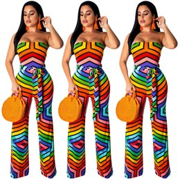 Night Club Jumpsuits For Women Australia - New Multicolored Stripes Strapless Women Casual Jumpsuits Rompers with Sash Sleeveless Bodysuits Straight Long Pants for Night Out Club