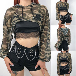 Hirigin femmes sexy net fil Camouflage Mesh Perspective Slim Club Wear Party Shirt Casual Tops Chemisier