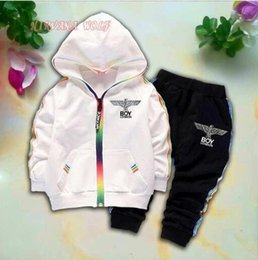 $enCountryForm.capitalKeyWord Australia - 2019 Eagle Logo Kids Cardigan Coats And Pants 2Pcs sets 1-4T Children Sports Sets Rainbow Zipper Long Sleeve Colorful Striped Summer Suit
