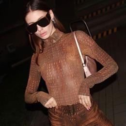 Wholesale animal print bodysuit women for sale – dress Hirigin Autumn Animal Print Long Sleeve Bodysuit Romper Women Jumpsuits Turtleneck Streetwear Tops Fashion Body Club Clothes