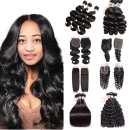 34 inches hair Australia - 10A Brazilian Human Hair Weaves Bundles With 4x4 Lace Closure Straight Body Wave Loose Wave Deep Wave Kinky Curly Hair Wefts With Closure