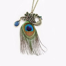 $enCountryForm.capitalKeyWord Australia - Peacock Necklace Statement jewelry Charm Peacock Feather Long Chain Sweater Necklace Wings Necklace