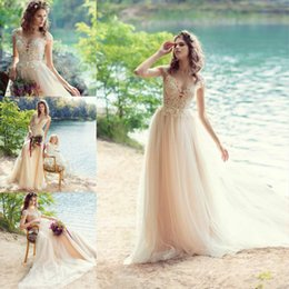 jewel spring Australia - Papilio 2019 Wedding Dresses Jewel Capped Sleeve Lace Appliqued Blush Pink Beach Spring Bridal Gowns Sweep Train A Line Wedding Dress
