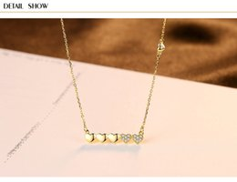 necklaces pendants Australia - S925 sterling silver necklace small clear peach heart clavicle necklace pendant LSF03