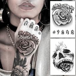 d56f71fdc Waterproof Temporary Tattoo Sticker Flower Rose Fake Tatto Flash Tatoo Hand  Arm Foot Back Tato body Art For Girl Women Men