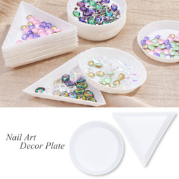 circular case Australia - 5pcs Nail Triangle Circular Plate Rhinestones Decoration Display Holder Plastic Storage Case Manicure Salon Container Tool JIA11