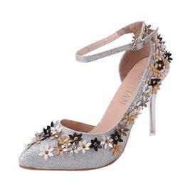 Shoes Belts UK - Dress Original Muqgew Wedding Shoes Women's Pointed Shoes Sequins Stiletto Shoe Belt Buckle High Heel Single Shoes Zapatos De Novia #t