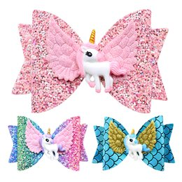 Girl's Accessories Apparel Accessories 2019 New Unicorn Wing Hair Accessories For Girls Children Princess Glitter Hair Bows Clips Handmade Hairpins Cute Kids Headdress Attractive Appearance