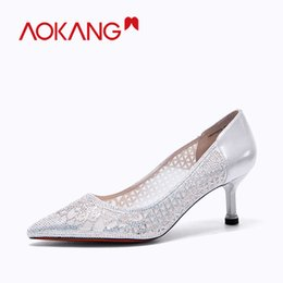 Wholesale AOKANG Hot Selling Women Shoes Pointed Toe Pumps Leather Dress High Heels Boat Shoes Shadow Party Wedding Zapatos Mujer