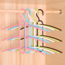 clothes hook remote Australia - 3 Layers Fish Bone Shaped Plastic Cloth Hanger Hook Clothes Holder Drying Rack Clothing Organizer Space Saver Non-slip Hangers