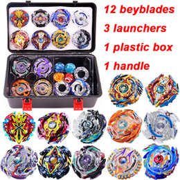 Box handles online shopping - 12pcs set New Beyblade Burst Bey Blade Toy Metal Funsion Bayblade Set Storage Box With Handle Launcher Plastic Box Toys For Children