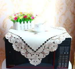 $enCountryForm.capitalKeyWord NZ - 57*57cm Modern style Square Satin Lace Tablecloth Embroidery Table Cover Cloth Christmas Hotel Kitchen Wedding Decor