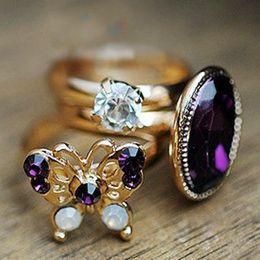 Korean Brass Australia - Wedding Rings for Women 2016 New Fashion Hot-Selling Korean Retro Mysterious Purple Butterfly Flash Jewel Gem Three-piece Gemstone Rings