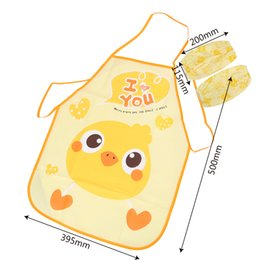 cute aprons Australia - NICEYARD Child Cooking Painting Eating Apron Cute Cartoon Apron Kitchen Supplies Children Bib with Waterproof Sleeve Cover 1 set