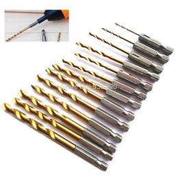 """Wood Metal Plastic Australia - shell 13Pce HSS Metal Bit Set 1 4"""" Hex Shank 1.5 To 6.5mm Titanium Coated Wood Plastic Aluminum Twist Drill Quick"""