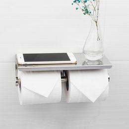 Suporte de papel higiénico de lustro do espelho com a cremalheira de papel longa viável do papel da plataforma 304 dos papéis dobro venda por atacado