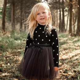 Wholesale Baby Girls Clothes Dots Princess Dresses Long Sleeve Knit Lace Tutu Dress Girls Outfits Kids Clothing Pink Black White Optional DHW1972