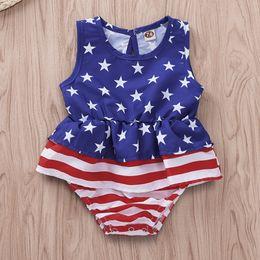 $enCountryForm.capitalKeyWord Australia - Independence Day Baby Girls Rompers US Flag Blue Red Striped Ruffled Star Printing Lovely Newborn Sleeveless Bodysuits Summer Baby Onesies