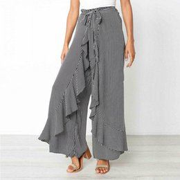 $enCountryForm.capitalKeyWord Australia - Women's Striped Palazzo Ruffles Straps Pants Long Loose High Waist Wide Leg Loose Baggy Harem Trousers Ladies Plus Size