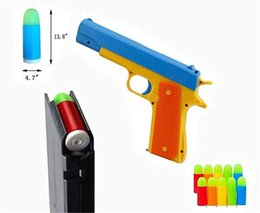 kids pistol guns NZ - Kids Toy Gun Colt 1911 Toy Pistol with 20 Pcs Colorful Soft Bullets, Ejecting Magazine and Pull Back Action bhu777