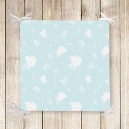 $enCountryForm.capitalKeyWord NZ - Else Blue Floor White Tropical Leaves 3d Print Chair Pad Seat Cushion Soft Memory Foam Full Lenght Ties Non Slip Washable Square