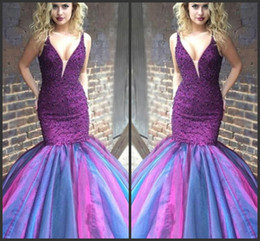 $enCountryForm.capitalKeyWord Australia - Purple Tulle Mermaid V Neck African Prom Dresses Long Cheap 2019 Bling Beading Evening Formal Dresses Party Gowns