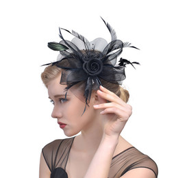 Hat Veils Netting Australia - Sblack Bird cage Net Wedding Bridal Fascinator Hats Face Veil Feather black for Masquerade party Prom accessory Free Shipping Hot CPA1990