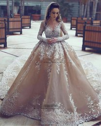 Size 18w Wedding Gown Australia - Sparkly Wedding Dresses Sheer Neck Sequins Beaded Tulle Long Sleeves Backless Champagne Wedding Gowns Plus Size Bridal Dresses DH4095