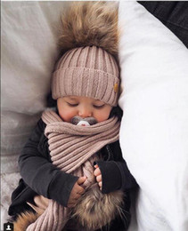 $enCountryForm.capitalKeyWord Australia - New Autumn Winter Baby Kids Warm Faux Fur Ball Knitted Hat Scarf Set Children Knitwear Beanie Skull Cap Scarf 15175