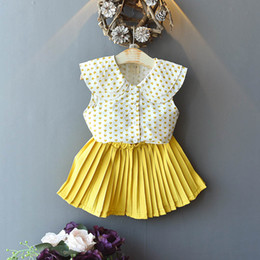 Best Wholesale Fashion Clothing Australia - New Fashion Girls Outfits chiffon Summer Kids Sets tops blouse+Pleated Skirts Girl Suit sweet Best Suits kids designer clothes A4540
