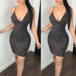 $enCountryForm.capitalKeyWord Australia - New Fashion Sexy Women Bodycon Mini Dress Sleeveless V Neck Summer Hot Club Wear Short Mini Dress Party Pencil Dress designer clothes