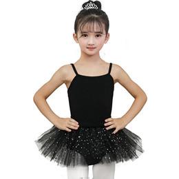 Tutu For Ballerinas Australia - Gymnastics Leotard Girls Ballerina Tutu Dress for Performance Skirted Ballet Clothes Dance Wear With Chiffon Skirts