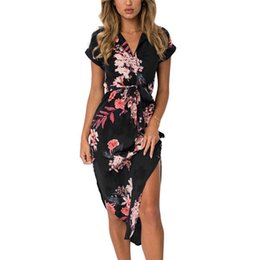 beach night dress party UK - Women Floral Print Beach Dress Fashion Boho Summer Dresses Ladies Vintage Bandage Bodycon Party Dress Vestidos Plus Size S-3XL
