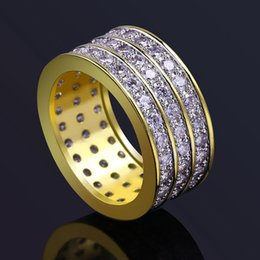 Finger Brass Ring Australia - Luxury Grade Quality Glaring 3 Rows Cubic Zirconia Solitaire Ring Jewelry Fashion Hip Hop Big Size 18K Gold Plated Circle Finger Rings LR028