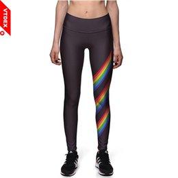 $enCountryForm.capitalKeyWord NZ - VTDEX Black Sports Leggings Rainbow Stripes Pattern Fitness Yoga Pants 3D Printed Slim Fits Workout GYM Pants Stretch #180544