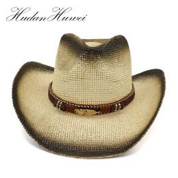 d4694cab Summer Black Spray Paint Breathable Women Ladies Panama Paper Straw Hat  Leather Decor Wide Large Brim Visor Cap Beach Cowboy Hat