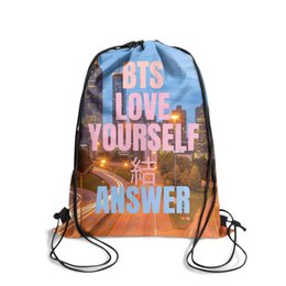 Love Furs Australia - Drawstring Sports Backpack BTS Love Yourself Answer cover fashion daily sinch sack Travel Fabric Backpack